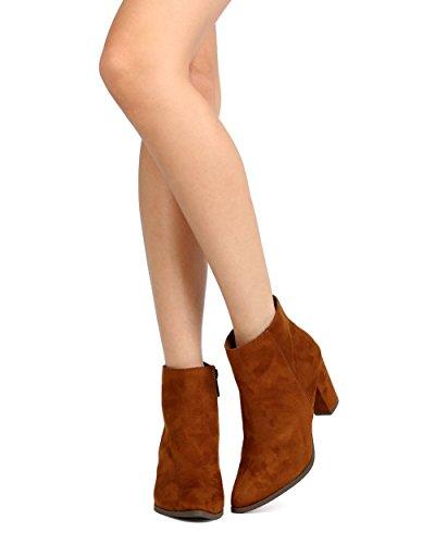 Suede Bootie Toe Heel Faux Pointy Tan Breckelles GA93 Women Chunky q8Tttv