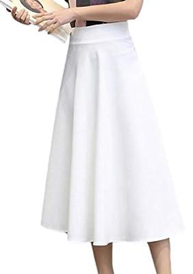 ainr Women's High Waisted Vogue Pleat Skater Work Office Long Skirt