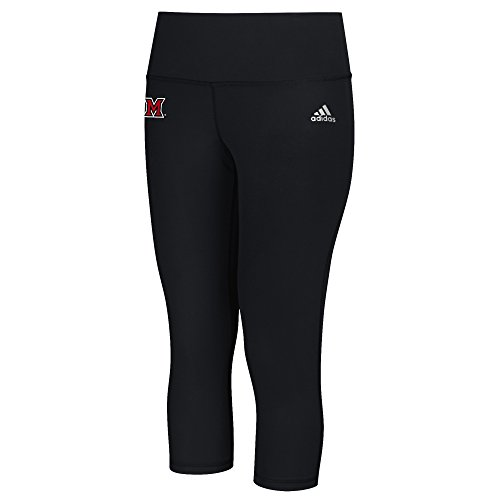 adidas NCAA Miami (Ohio) Redhawks Logo Performer Climalite Mid Rise 3/4 Tight Pants, Small, Black