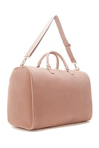 Lulu Dharma Womens Light Pink Velvet Weekender Bag, Duffle Bag, Overnight Bag, Travel Bag, Luggage, Large Tote Bag, Fashion Bag, Durable Bag, Best Handbag for women (Light Pink) - MSRP $99 by Lulu Dharma