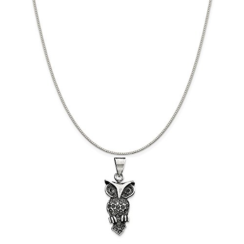Mireval Sterling Silver Antiqued Owl Charm on a Sterling Silver Carded Box Chain Necklace, 18