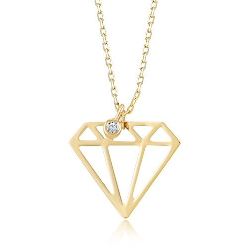 - Gelin 14k Solid Gold 0,01 ct Diamond Shaped Geometric Triangle Pendant Necklace for Women - A Perfect Surpise Gift for Her, 18 inc