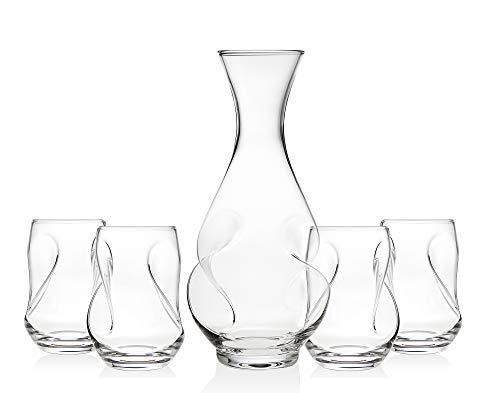 Godinger Pivot 5 Piece Carafe Set, Includes 1 Carafe and 4 Goblet Wine Glass
