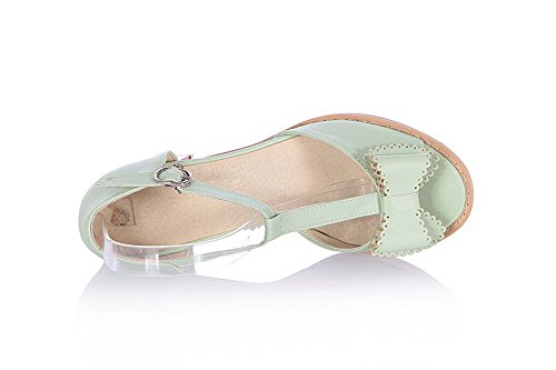 Womens Peep 5 Sandals US Open Material M PU Buckle B and Solid Soft with WeenFashion Heel Toe Kitten Green Bowknot EdFEwqa