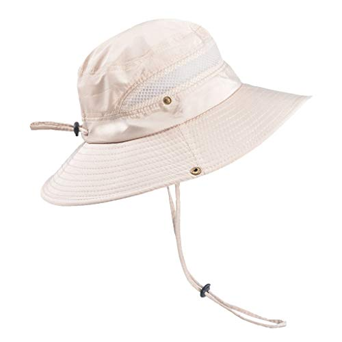 YEZIJIN Summer Outdoor Sun Hat Protection Bucket Mesh Boonie Hat Solid Fishing Cap Summer Best 2019 New Beige -