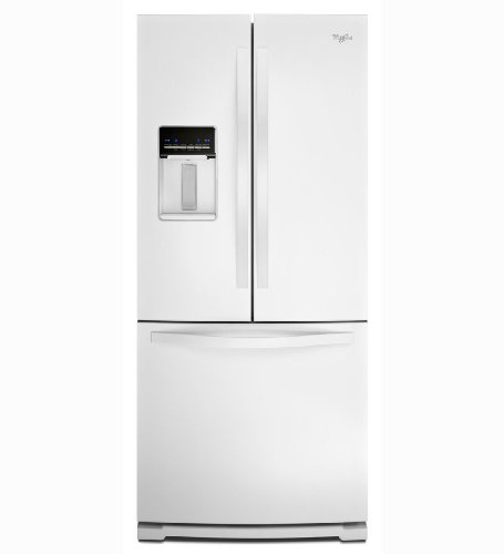 Whirlpool wrf560seyw 19 5 cu ft white french door for Five foot french doors