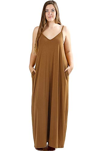 Women's Premium Casual Long Beach Loose Plain with Coffee Dress Pockets Summer Maxi Cami Zenana Side ITqwd5I