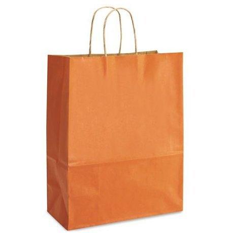 Orange Bags, 15 Large Kraft Paper Gift Wrap Bags (13