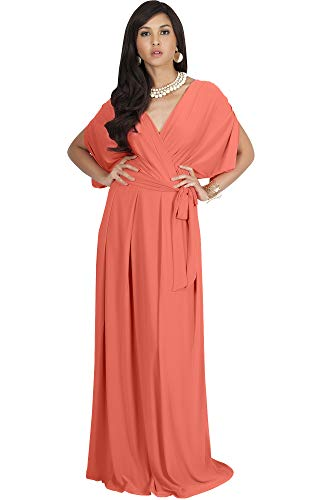 KOH KOH Plus Size Womens Long Formal Short Sleeve Cocktail Flowy V-Neck Casual Bridesmaid Wedding Party Guest Evening Cute Maternity Work Gown Gowns Maxi Dress Dresses, Coral/Pink Peach XL 14-16