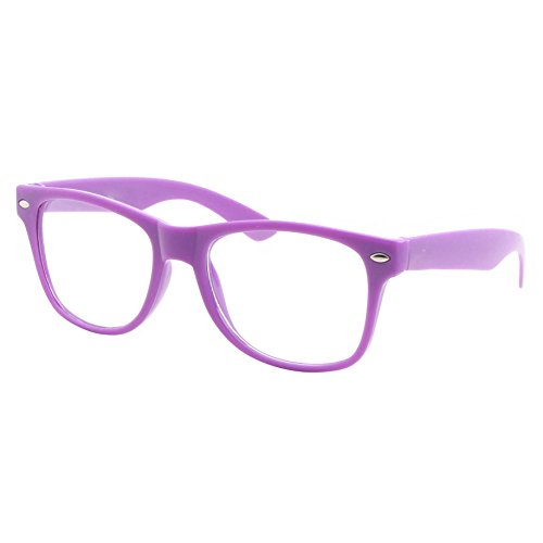 Girl Glasses (Kids Size Color Glasses Clear Lens Nerd Geek Costume Fake Children's (Ages 3-10), Purple)