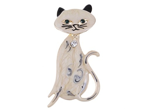 Rhinestone Kitty Cat Brooch Pin - 2