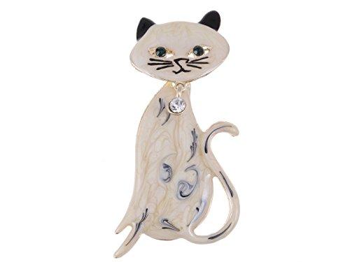 Cream Black Hand Paint Enamel Rhinestone Bowtie Bobble Head Kitty Cat Pin Brooch ()