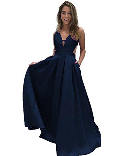 Ärmellos Lange Rückenfrei A Taschen V Navy Linie Lovelybride Abendkleider Neck mit qPYRTXxw