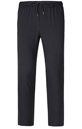 LANBAOSI Boys Girls Elastic Waist Hiking Pants Waterproof Drawstring Pants Black