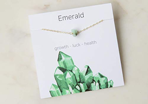 Emerald Crystal Gemstone Necklace 14K Gold Filled Birthday Gift for Her -16