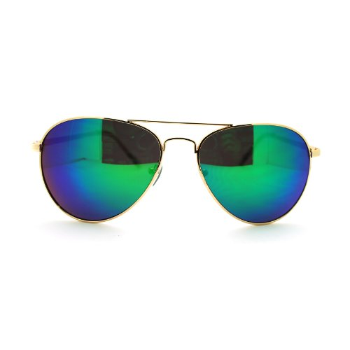 Mens Color Revo Lens Police Bike Cop Teardrop Aviator Sunglasses Gold ()