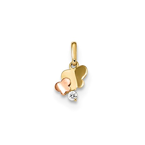 14k Yellow Gold Two Tone Childrens Cubic Zirconia