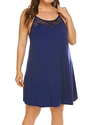 Women's Plus Size Nightgrown Sleepwear Lace Stain Sleeveless