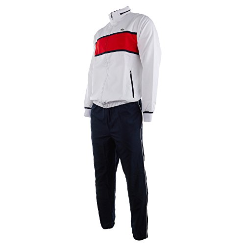 - Lacoste Men's Sport Colorblock Tennis Tracksuit (7-2XL, White/Lust Red/Navy Blue)