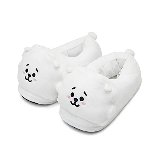 BT21 Official Merchandise by Line Friends - RJ Character Plush House Slippers for Women and Men, White