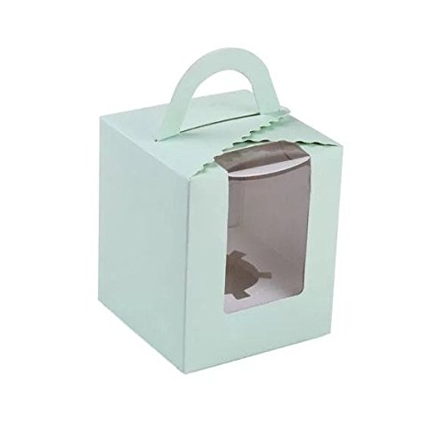 Astra Gourmet Set of 12 Single Cupcake Boxes with Handle/Baking/Party Supplies/Paper Supplies/Party Favors(Green)