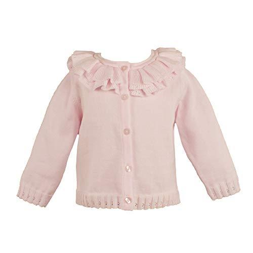 Petit Ami Baby Girls' Pointelle Ruffle Collar Cardigan, 24 Months, Pink