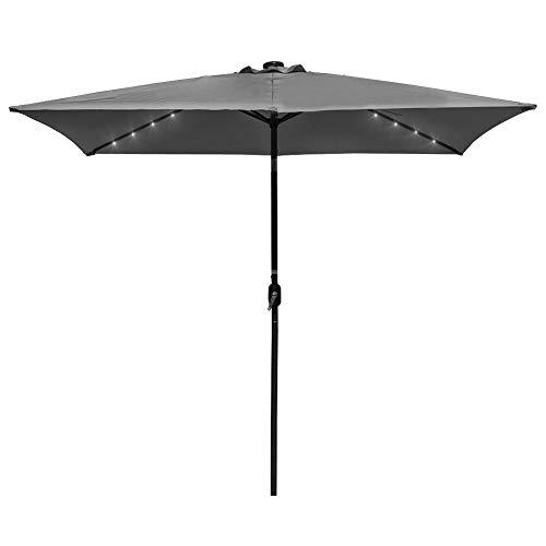 Rectangular Umbrella Table - Sundale Outdoor Rectangular Solar Powered 26 LED Lighted Patio Umbrella Table Market Umbrella with Crank and Push Button Tilt for Garden, Deck, Backyard, Pool, 6 Alu. Ribs, 9 x 6.5-Feet (Gray)