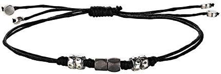 Xenox Herren Textil Armband mit Sterling Silber 925 und Titan Beads - Silver Men XS9318