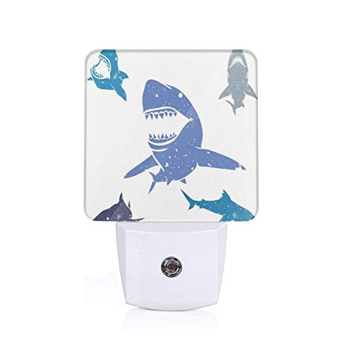 Nutmix Sea Animal Decor Grunge Style Big and Small Sharks with Open Mouth Predator Jaws Image Full Royal Blue Toilet Sensor Wall Lamp