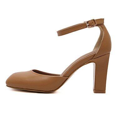 Dress Black Women'S US6 Heel EU36 UK4 Zormey Chunky Round CN36 Shoes Brown Heels Leatherette Toe zwFqd8g