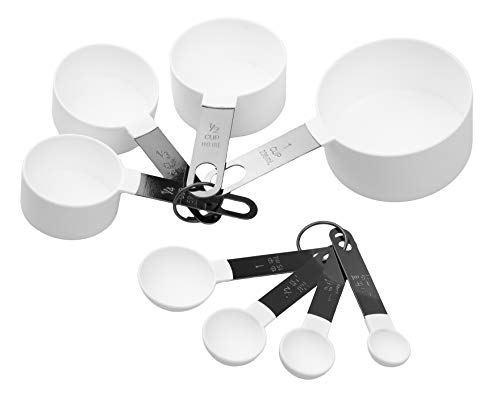 Country Kitchen 8 Piece White Nylon Measuring Cups and Measuring Spoon Set with Black Gun Metal Handles for Liquids and Solids ()