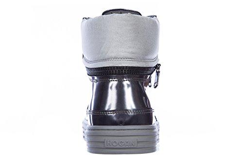 Hogan Rebel chaussures baskets sneakers hautes homme en cuir rebel gris