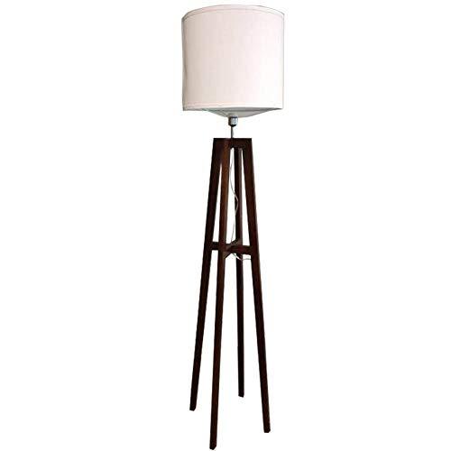 Girlsli Floor Lamp, Warm Bright LED Floor Light, Tall Modern Standing Reading Lamp for Living Room Bedroom Office, Asian Brown Wooden Frame Floor Lamp