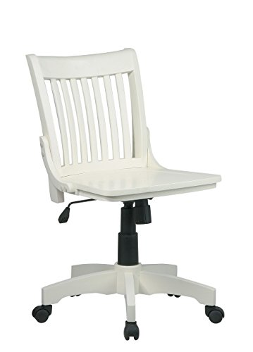 Deluxe Armless Wood Banker's Chair with Wood Seat in Antique White Finish ()