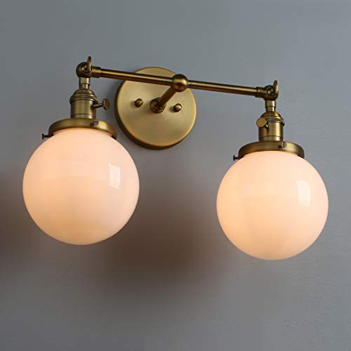 Antique White Two Arm Sconce - Vintage Industrial 2 Light Wall Sconce with Warm White Globe Glass Lampshade (Antique)