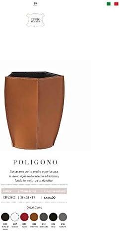 per casa e Ufficio by Limac Design/®. Gavemo POLIGONO Cestino gettacarte in Cuoio Colore Tortora Cesto gettacarte di Design