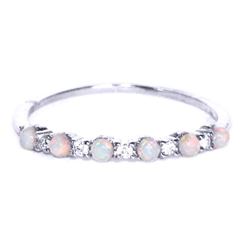 (Gieschen Jewelers NIKI II .925 Sterling Silver CZ and Opal Stackable Ring Ring, Size 6)