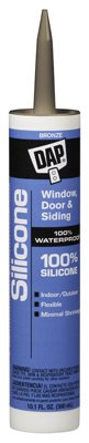 Dap 08647 12 Pack 10.1 oz. 100% Silicone Window and Door Sealant, Bronze by DAP