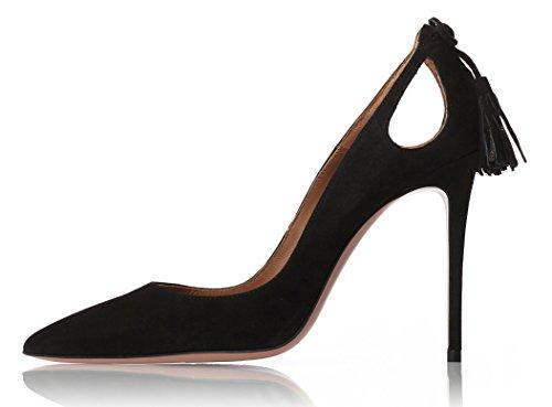 Chaussures Escarpins Enfiler High Taille Grande Heels Stilettos Ubeauty Aiguille Noir Houppe Talon Femmes nTqBAO