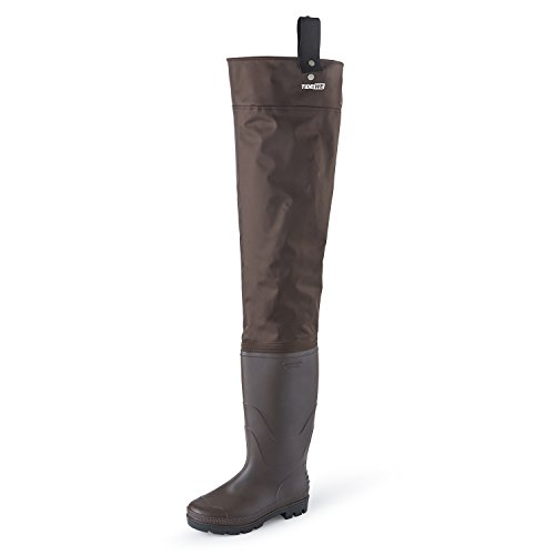 TideWe Hip Wader, Lightweight Hip Boot for Men and Women,2-Ply PVC/Nylon Fishing Hip Wader Brown Size 11