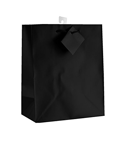 12-PC Solid Color Gift Bags, Matt, Black Color -