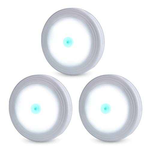 Tap Lights, LED Stick on Closet Lights, Under Cabinet Lighting Battery Powered Push On Light for Counters, Outage and Emergency Use, 3-Pack, ()