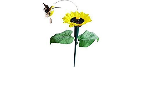 js Fluttering Hummingbird with Sunflower Solar Garden Yard (Hummingbird Garden Stake)
