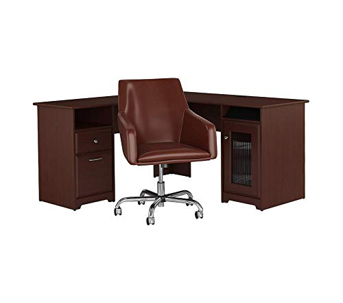 - Wood & Style Furniture 60W L Shaped Desk with Mid Back Leather Box Chair in Harvest Cherry Premium Office Home Durable Strong