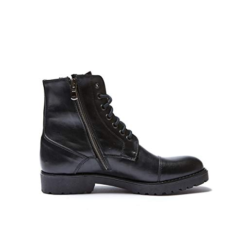 Derby Donna Toe Ankle con Colore Boot Toe Nero Black cap cap Stringata Derby Scarpa Decorazione di AwF55n