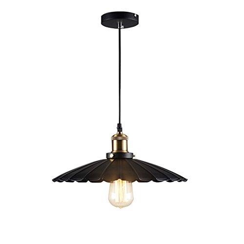 Fulande Industrial Pendant Lighting Black 1-Light Modern Chandelier Ceiling Light, Oil Rubbed Bronze, metal for kitchen Bar Cafe Dinning Room (250mm) - Light Flemish Bronze Chandelier