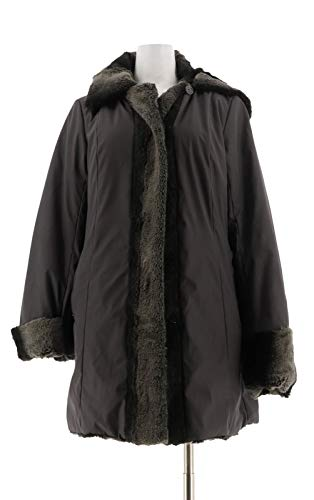 Dennis Basso Chic Reversible Fur Toggle Coat Detach Hood Graphite XS New A228866 from Dennis Basso