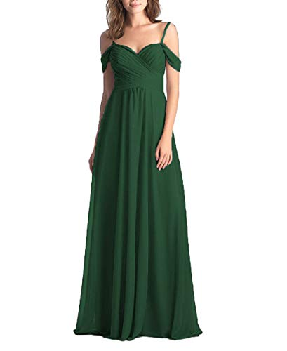 Emerald Green Wedding Bridesmaid Dress for Women Long Off The Shoulder Pleated Chiffon Formal Dress for Women for Women