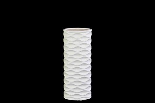 UTC21408 Ceramic Round Cylindrical Vase with Embossed Wave Design SM Matte Finish White -