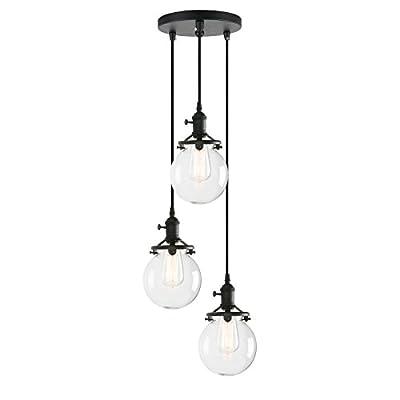 Pathson Island Chandelier Pendant Lighting Fixtures, 3 Lights Vintage Style Globe Clear Glass Shade Indoor Hanging Lights